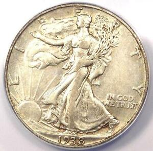 1938 D WALKING LIBERTY HALF DOLLAR 50C   CERTIFIED ANACS AU50    DATE COIN