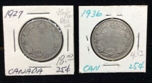 CANADIAN SILVER QUARTERS 2 COIN LOT  1927 & 1936