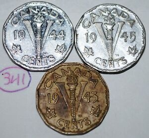 CANADA 5 CENTS 1943 1944 1945 V NICKELS GEORGE VI CANADIAN VICTORY COIN LOT 341