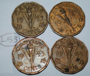 CANADA 1943 5 CENTS TOMBAC X 4 GEORGE VI CANADIAN VICTORY NICKEL LOT L53
