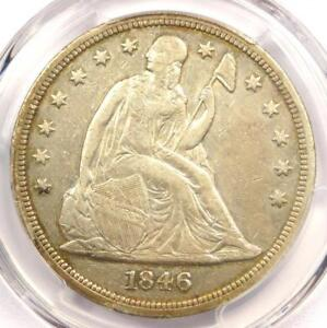 1846 SEATED LIBERTY SILVER DOLLAR $1   PCGS XF DETAILS    CERTIFIED COIN