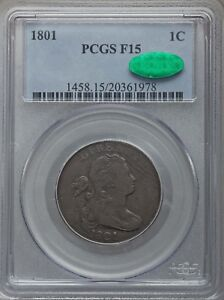1801 LARGE CENT PCGS F15 CAC
