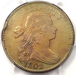 1802 DRAPED BUST LARGE CENT 1C S 241   PCGS AU DETAILS    EARLY DATE PENNY