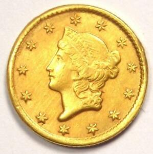 1853 C LIBERTY GOLD DOLLAR CHARLOTTE COIN  G$1    AU DETAILS  CLEANED / TOOLED