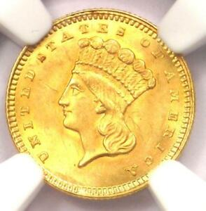 1860 INDIAN GOLD DOLLAR  G$1 COIN    NGC UNCIRCULATED DETAILS  UNC MS