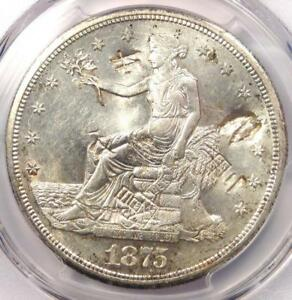 1875 S TRADE SILVER DOLLAR T$1   PCGS UNCIRCULATED DETAILS CHOP MARK  UNC MS