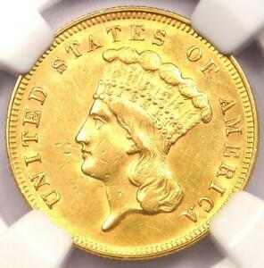1868 THREE DOLLAR INDIAN GOLD PIECE $3   CERTIFIED NGC AU DETAILS    DATE