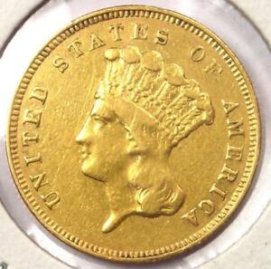 1857 S INDIAN THREE DOLLAR GOLD COIN  $3    XF DETAILS  EF     DATE COIN