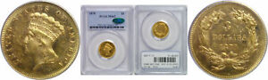1870 $3 GOLD COIN PCGS MS 62 CAC