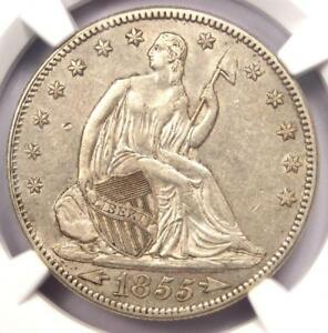 1855 ARROWS SEATED LIBERTY HALF DOLLAR 50C   NGC AU DETAILS    COIN