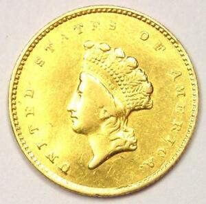 1855 O TYPE 2 INDIAN DOLLAR GOLD COIN  G$1    AU DETAILS    NEW ORLEANS COIN