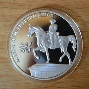 2012 PROOF  THE BATTLE AT MCPHERSON RIDGE GETTYSBURG SILVER PLATED CIVIL WAR