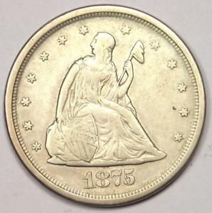 1875 S SEATED LIBERTY TWENTY CENT COIN  20C    SHARP DETAILS    TYPE