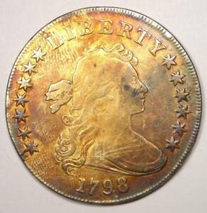 1798 DRAPED BUST SILVER DOLLAR $1   FINE DETAILS    TYPE COIN