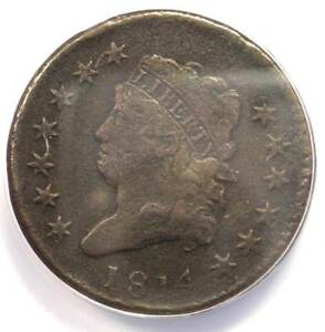 1814 CLASSIC LIBERTY LARGE CENT 1C COIN   ANACS VF20 DETAILS    DATE PENNY