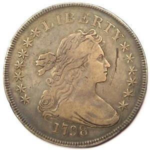 1798 DRAPED BUST SILVER DOLLAR $1   VF/XF DETAILS    TYPE COIN