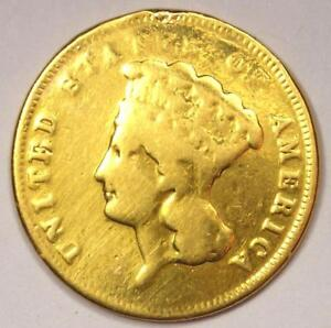 1860 S INDIAN THREE DOLLAR GOLD COIN  $3    VG DETAILS  EX JEWELRY     DATE