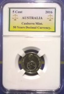 AUSTRALIA 2016  5 CENT 50 YEARS OF DECIMAL CURRENCY. CHANGEOVER UNCIRCULATED.
