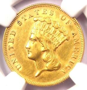 1878 THREE DOLLAR INDIAN GOLD PIECE $3   NGC AU DETAILS    COIN   NEAR MS