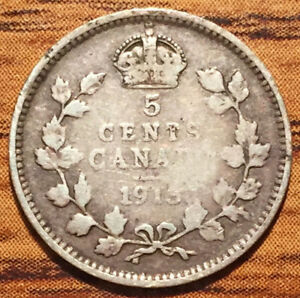 1913 SILVER CANADA 5 CENTS KING GEORGE V COIN