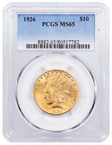 1926 INDIAN HEAD WITH MOTTO $10 GOLD EAGLE PCGS MS65 SKU55725