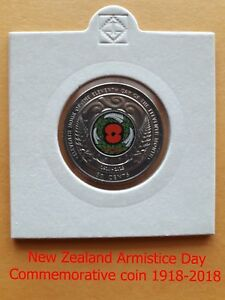 2018   NEW ZEALAND ARMISTICE DAY RED POPPY COLOURED COMMEMORATIVE COIN NEW