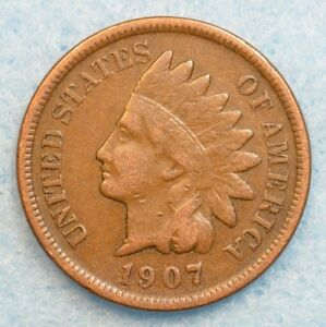 1907 INDIAN HEAD CENT PENNY NICE OLD COIN PARTIAL LIBERTY FAST S&H 78190
