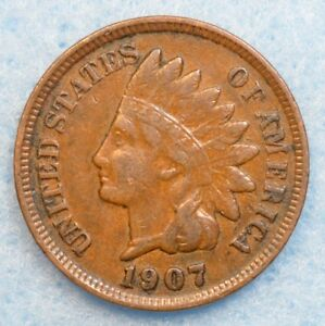 1907 INDIAN HEAD CENT PENNY NICE OLD COIN PARTIAL LIBERTY FAST S&H 36176