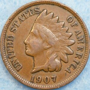 1907 INDIAN HEAD CENT PENNY NICE OLD COIN PARTIAL LIBERTY FAST S&H 78206