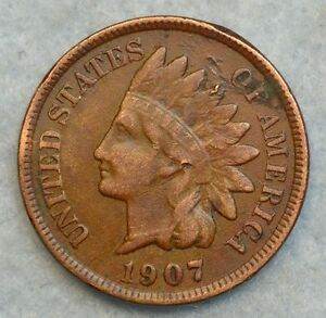 1907 INDIAN HEAD CENT PENNY NICE OLD COIN LIBERTY FAST S&H 263