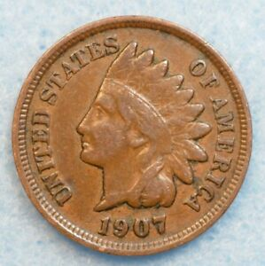 1907 INDIAN HEAD CENT PENNY NICE OLD COIN PARTIAL LIBERTY FAST S&H 78155