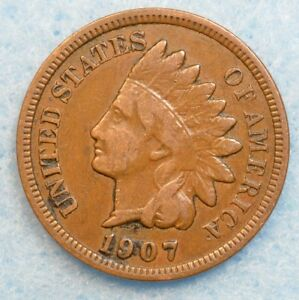 1907 INDIAN HEAD CENT PENNY NICE OLD COIN PARTIAL LIBERTY FAST S&H 36198