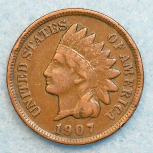 1907 INDIAN HEAD CENT PENNY NICE OLD COIN PARTIAL LIBERTY FAST S&H 36150