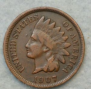 1907 INDIAN HEAD CENT PENNY NICE OLD COIN FAST S&H 412
