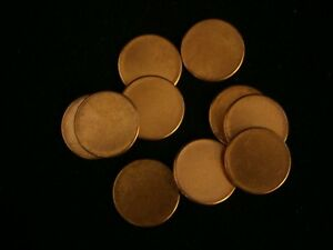 LOT OF 10 BLANK PENNY PLANCHETS POST 1982 2.5 GRAMS NICE ERROR COINS