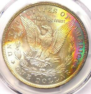 1881 O TONED MORGAN SILVER DOLLAR $1   PCGS MS64   NICE RAINBOW TONING