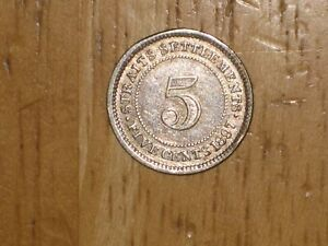 STRAITS SETTLEMENTS 1897 H SILVER 5 CENTS COIN QUEEN VICTORIA