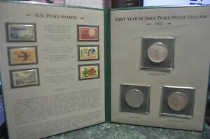 1922 S P D  PEACE SILVER DOLLAR   LOT OF 3   COLLECTIBLE BOOKLET AND STAMP