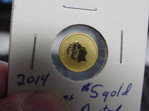 AUSTRALIA 2014 $5 1/20 OZ 9999 GOLD COIN LUNAR YEAR OF HORSE GEM BU