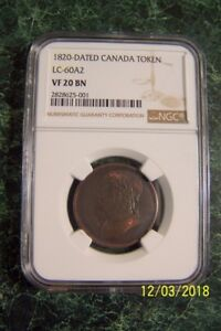 Click now to see the BUY IT NOW Price! LOWER CANADA BUST & HARP 1/2 PENNY TOKEN 1820/5 VF20 BN NGC