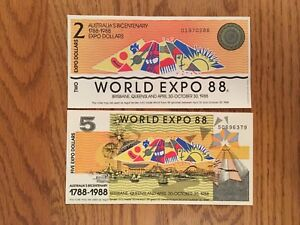AUSTRALIA'S BICENTENARY WORLD EXPO 88 TWO & FIVE DOLLAR BANKNOTES UNC