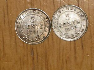 NEWFOUNDLAND 1941 C AND 1945 C SILVER 5 CENTS COIN LOT FINE NICE