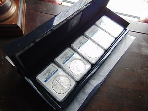 2011 5 COIN SILVER EAGLE SET MS/PF 70 NGC  25TH ANNIV