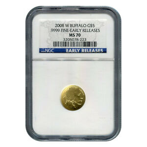 CERTIFIED UNCIRCULATED GOLD BUFFALO TENTH OUNCE 2008 W MS70 NGC EARLY RELEASE