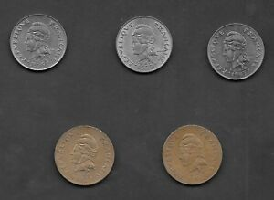 FRENCH POLYNESIA LOT OF 5 COINS 3 X 20 FRANCS & 2 X 100 FRANCS