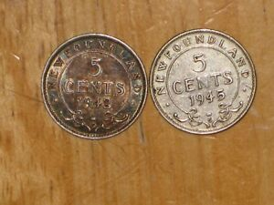 NEWFOUNDLAND 1942 C AND 1945 C SILVER 5 CENTS COIN LOT FINE NICE