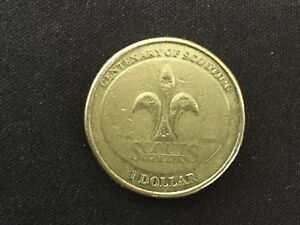2008 AUSTRALIA $1 CENTENARY OF SCOUTING   CIRCULATED 1 DOLLAR COIN SCOUTS