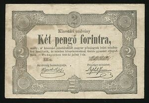 X514 HUNGARY 2 PENG FORINT 1849 PAPER BANKNOTE REVOLUTION NOTE KOSSUTH SIGN
