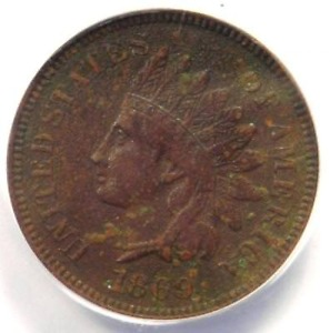 1869 INDIAN CENT 1C   ANACS XF45 DETAILS  EF     EARLY DATE CERTIFIED PENNY