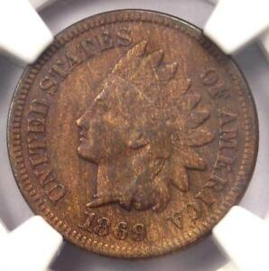 1869 INDIAN CENT 1C COIN   NGC VF DETAILS    EARLY DATE CERTIFIED PENNY